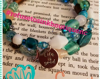 Life Is Good memory wire bracelet