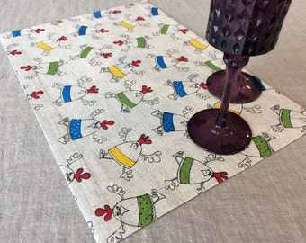 Colorful Placemats Set-Linen funny placemats-Chicken Napkins-Fabric Chicken table decor-placemats for kids-Easter Linens-Easter Chicks place