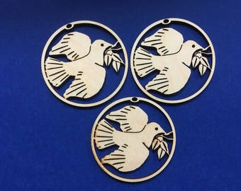 3 Wood Dove with Olive Branch Ornament Blanks