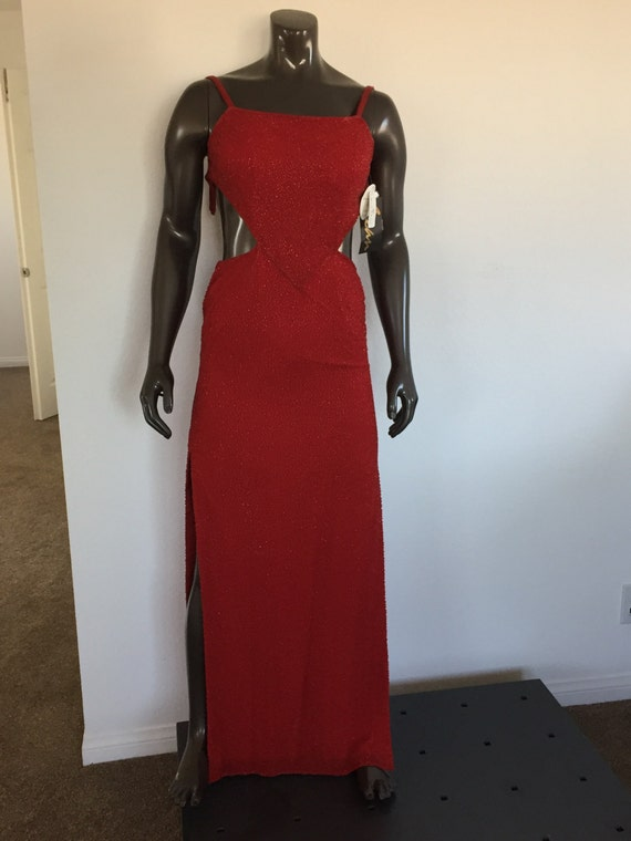 Vintage Red Beaded Dress - Sean Collection - Size Small