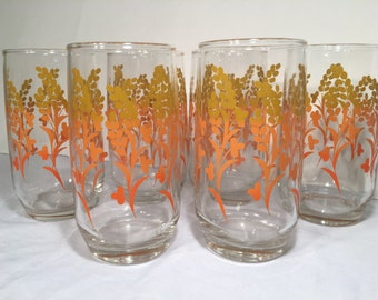 Vintage Glassware Orange & Harvest Gold