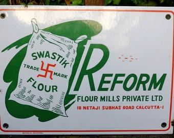 Old Swastik Trade Mark Flour Antique Vintage Enamel Advertising Sign