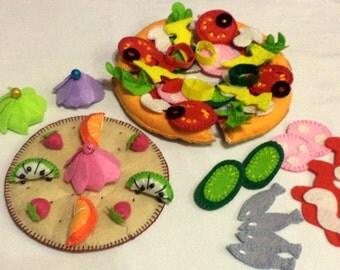 Felt pizza.Pizza dx set, felt food toy, Italian kitchen, children,Italian pizza,Italian cuisine,felt food
