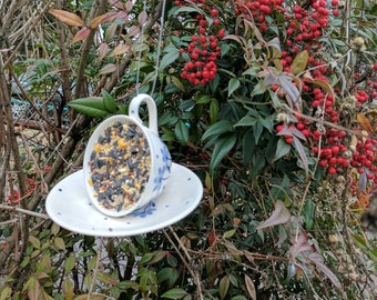 MADE TO ORDER Vintage tea cup suet bird feeder!