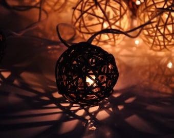 String Lights For Bedroom, Indoor String Lights, Fairy Lights, Bedroom Lights, Decorative hanging Lights, Rattan String Fairy Lights Brown