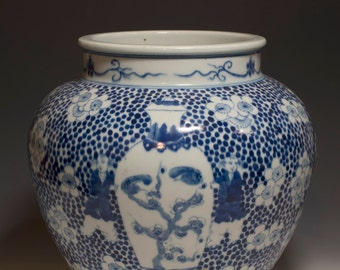 Beautiful Chinese Antique 19th Century Qing Dynasty Blue and White Porcelain Jar