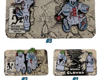 Wicked Clownz Comic - Glow in the Dark 5 Pins/3 Card Set