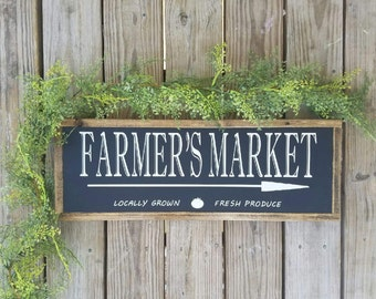 Farmer's Market, Wooden Sign. Wood, Farmhouse, Rustic, Kitchen, Pantry