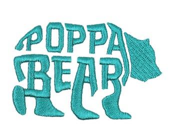 Poppa Bear Father Embroidery Designs Machine