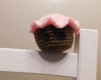 Small Cupcake Pink Icing Stuffed Crochet