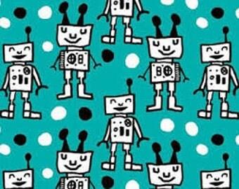 Paapii Organic Jersey knit Robots Turquoise