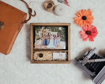 "10 x Square Wooden Boxes for prints 4x6"" and USB 