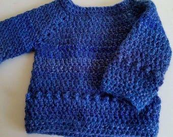 Crocheted handmade crochet baby jumper blue sparkle