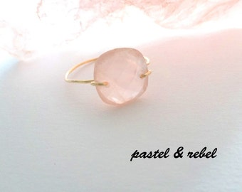 Gold filled ring with rose quartz