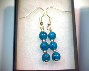 Sterling Silver Earrings, Hookwire Drop, Dangle. Turquoise.