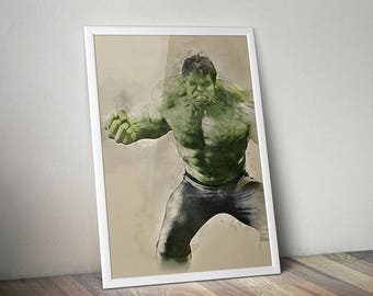 "SALE | The Incredible Hulk Avengers Water Colour Original Digital Poster *Enter ""DUDESAVE15""  on checkout for 15% off"