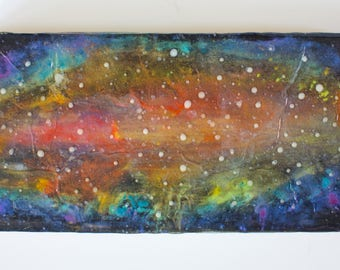 Birch Wood Panel Acrylic Space Painting Stardust #1