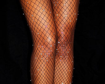 Diamond Fishnets, Swarovski Crystal, Swarovski Crystal Stockings, Crystallized Fishnets, Sparkle Tights, Bedazzled Fishnets, Kylie Nets
