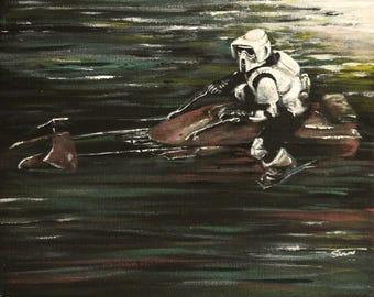 Star Wars painting - Biker scout, speeder bike - Starwars Art - Scout trooper - Acrylic and oil on 10x8 inch canvas