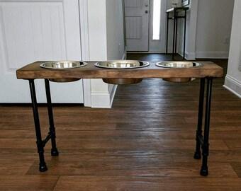3 Bowl Elevated Dog Feeder