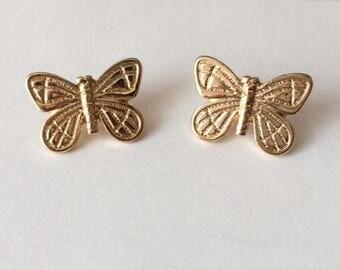 Vintage 1970's Gold Butterfly Moth Earrings