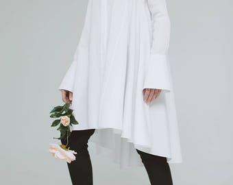 Classic Sun Shirt-dress, White shirt-dress, Cotton shirt, Long Shirt, White dress, Cotton dress