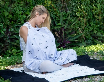 Blue organic  stylish nursing Cover + Bag- made from 100% organic cotton with stars print or origami print, baby gift, baby shower