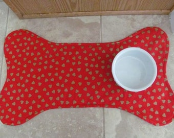 Dog Bone Pet Placemat, Hearts Print Dog Food Mat, Pet Food Mat, Pet Mat, Dog Bone Mat
