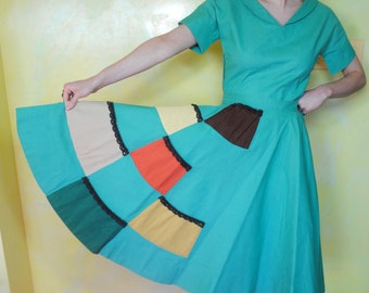 1940s Patchwork Ensemble Skirt Set