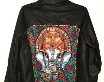 Boho elephant leather jacket