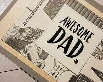 Father's Day Card, Handmade Dad card, AWSOME Dad father's day card,