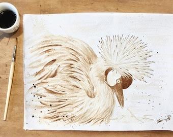 "Coffee crane bird ORIGINAL 28x38 cm (11.02x14.96"" in)"
