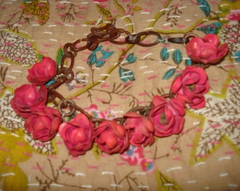 Vintage 1920s Celluloid Rose necklace