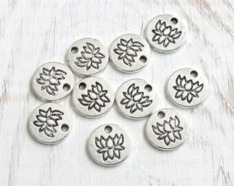 Lotus charms, silver lotus, coin Lotus charm, lotus pendant, lotus flower, flower charm, us seller, tiny lotus, set of 10, yoga charm