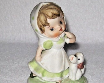 HOMCO Bisque Porcelain Girl with Dog Figurine