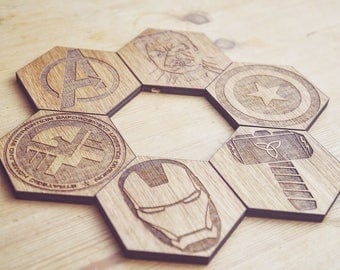 Avengers Set of 6 Hexagonal Coasters