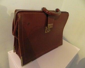 Vintage Brown Leather Briefcase / Doctors / Gladstone / Bag Case Lockable Key Price Waterhouse