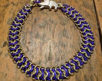 Purple and Yellow Vertebrae Bracelet with Elephant clasp