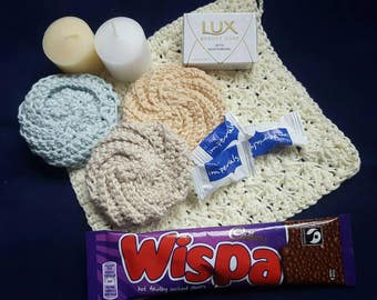 Eco friendly crocheted cotton washcloth, make up pads, scented candles, hot chocolate,  luxury soap, pamper kit.