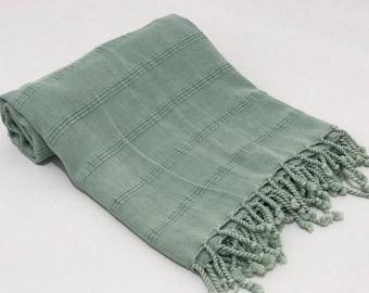 Stone washed bath towel, sauna towel, spa towel, swim towel, turkish towel, hammam towel, peshtemal, beach towel, green bath sheet