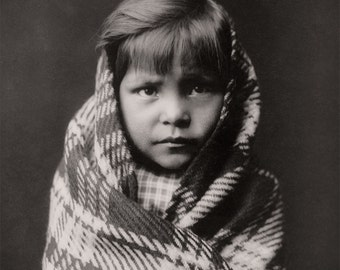 Native American Navaho Boy Portrait, American Indian Photograph of Indigenous American Indian, Black White Photo
