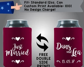 Just Married Names Date State Collapsible Neoprene Can Cooler Double Side Print (W249)
