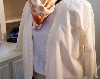 Loose fit hip length cotton jacket