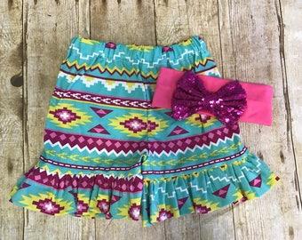 SALE!!!  Aztec ruffle shorts