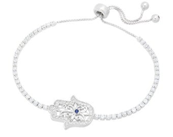 925 Solid Sterling Silver Hamsa Evil Eye Tennis Bracelet, Rhodium Plated, Clear Cubic Zirconia Diamond