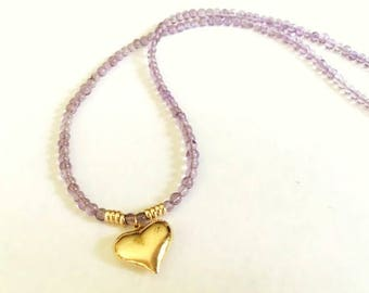 14K Yellow Gold Puffed Heart Charm Amethyst Gemstone Handmade Beaded Necklace Purple Jewelry Gift For Her