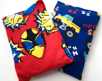2 BooBoo Saks, Microwaveable Flax Heating Pads for Children. Keep them in the freezer to soothe their bumps and bruises!