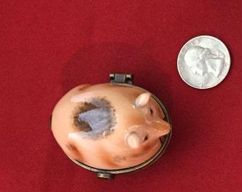"""Spotted Pig, """"Ham I Am"""", Limoges Type Trinket Box"""
