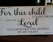 "1 Samuel 1:27 Bible Verse Handpainted Wood Sign - 12"" x 20"""