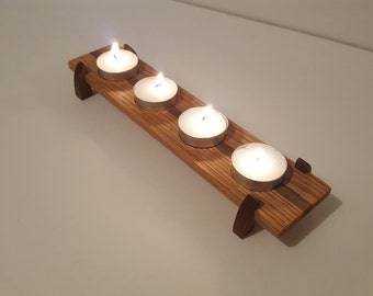 Oak and Walnut Tea Candle Holder